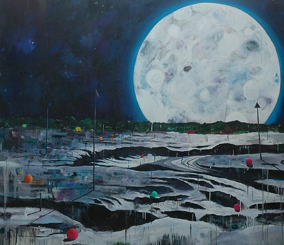 We saw the splender of the moon. Oil on canvas.  183 x 210 cm  2006