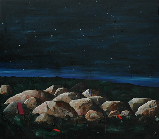 We came out to see once more the stars.  Oil on canvas, 183 x 210cm 2005