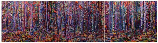 lost among the light.  Oil on board  65 x 240 cm  2009-11