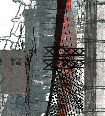 Monoprint of a bridge by Sandra Butler