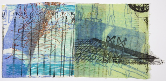 Monoprint with wax of a bridge by Sandra Butler