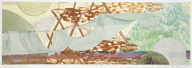 Mixed-media collage of an abstract bridge by Sandra Butler