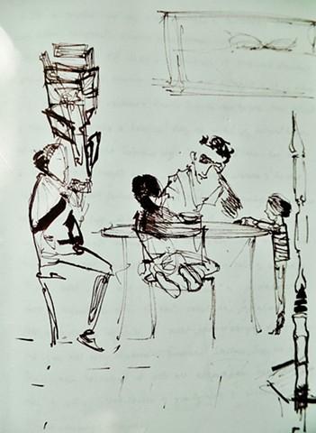 famille au petit déjeuner dans la gare