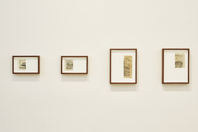 L to R, Untitled (Cut drawing 1), Untitled (Cut drawing 2), Untitled (Cut drawing 3), Untitled (Cut drawing 4)