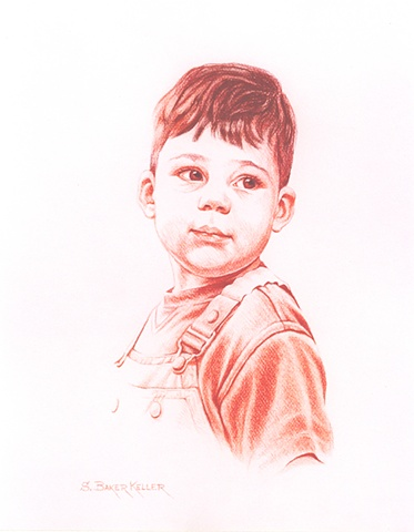 Conte Crayon Portrait of a Young Boy by Sally Baker Keller