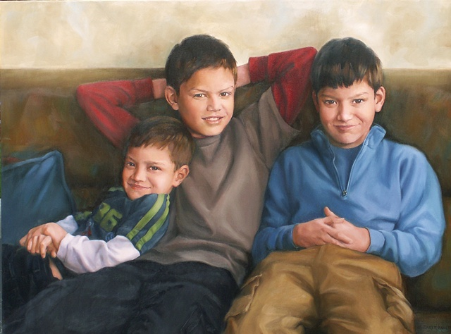 Oil Portrait of Three Young Boys by Sally Baker Keller