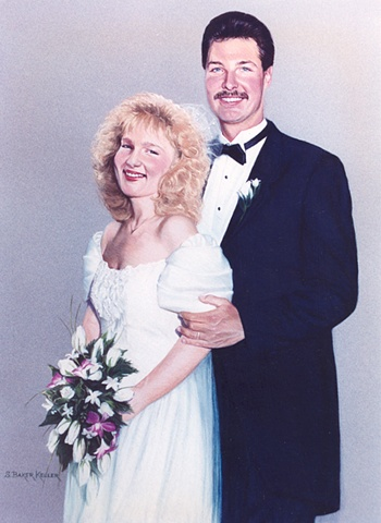 Pastel Portrait of Wedding Couple by Sally Baker Keller