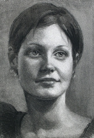 Charcoal Portrait of Young Woman by Sally Baker Keller