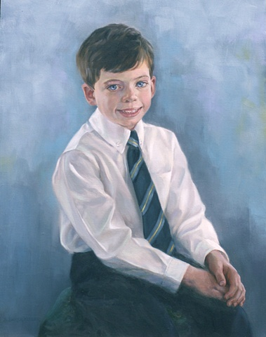 Oil Portrait of a Young Boy by Sally Baker Keller
