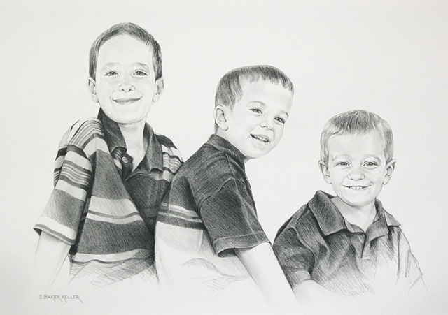 Pencil Portrait of Three Young Boys by Sally Baker Keller