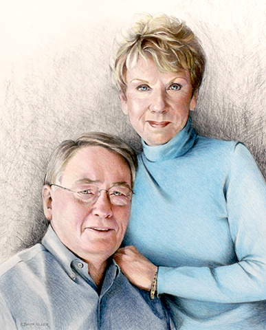 Colored Pencil Portrait of Couple by Sally Baker Keller