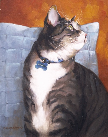 Oil Portrait of a Cat by Sally Baker Keller