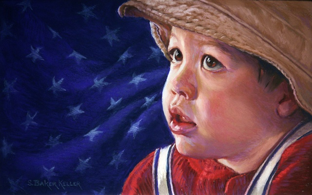 Pastel Portrait of a Young Boy with American Flag Symbol by Sally Baker Keller