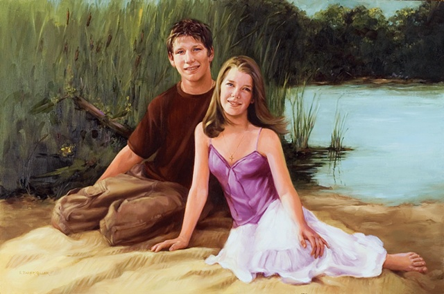 Oil Portrait of  TwoTeenagers by Sally Baker Keller