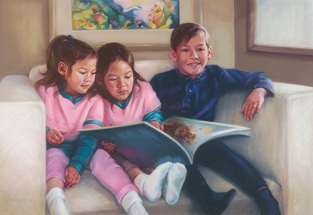 Pastel Portrait of Three Young Children by Sally Baker Keller