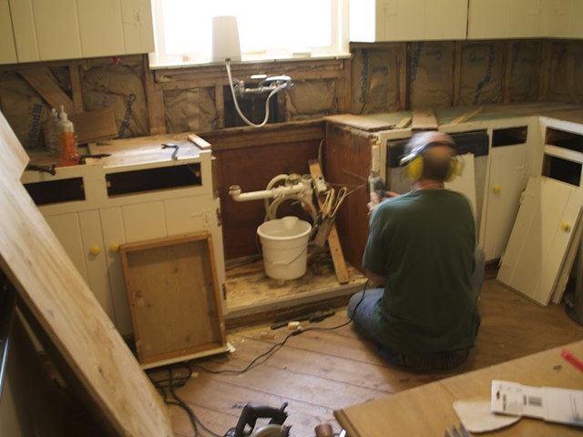 Tim returns from the North and removes the sink and begins carpentry work.