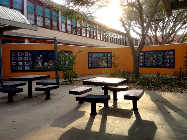 View of the Tile Murals at Carroll High School.