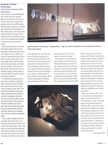 Sculpture Magazine, Nov 2006 Vol.25 No.9, U.S.A, pg. 80 by Jane Ingram Allen