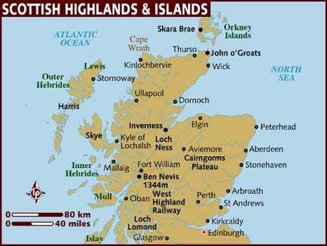 Map of The Highlands of Scotland