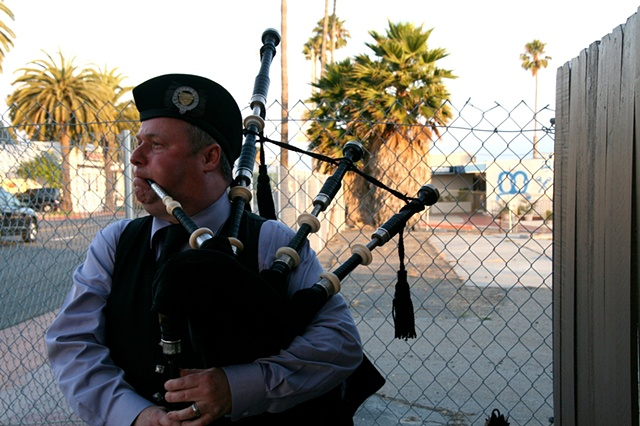 Opening the shop in style with a Scottish bagpiper 18th of June 2011