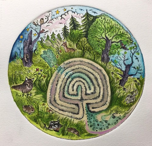 Etching hand-colored of a labyrinth with trees, birds, woodsy creatures