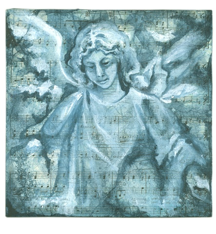 Inspired by the funerary art of Crown Hill Cemetery, this angel is one in a series.