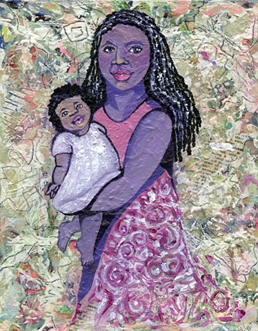 Beautiful African American woman holding a child