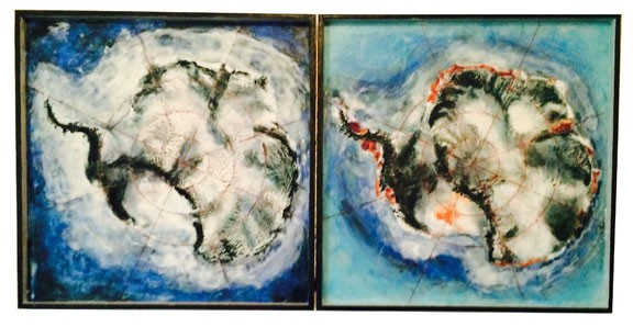 Diptych incorporating satellite heat map info