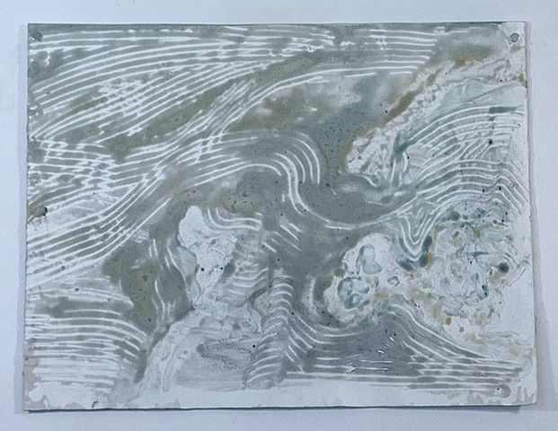 "Microcystis Abstraction - monochrome - encaustic monotype on Rives lightweight, 26"" x 20"""