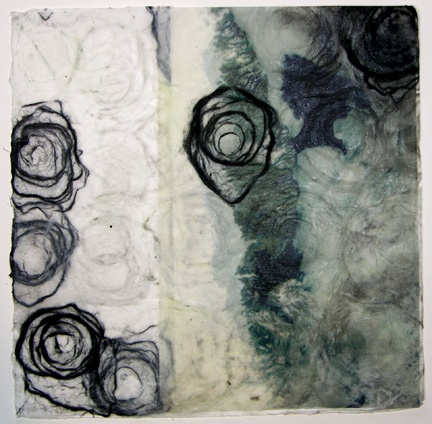 One of series of encaustic monotypes:  aerial abstractions of polar regions