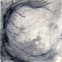 silver encaustic and charcoal on handmade paper