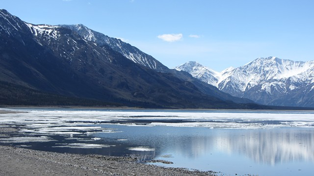 Kluane Lake with ice