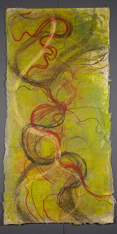 One of series of encaustic & mixed media abstract aerial landscapes based on river channels.