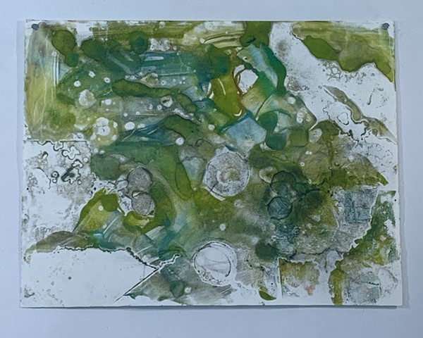 "Microcystis abstraction - greens -  encaustic monotype on Rives lightweight, 26"" x 20"""