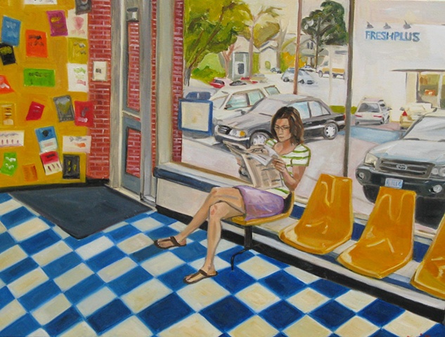Original  oil painting of Hyde Park Laundromat in Austin Texas.