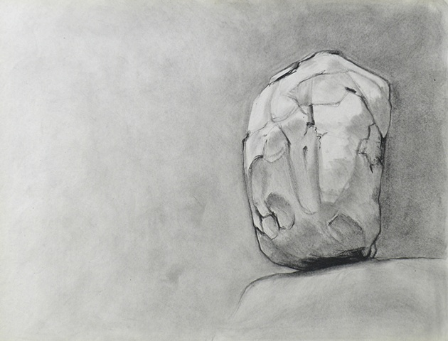 charcoal drawing, still life on paper by female artist Karen S. Purdy