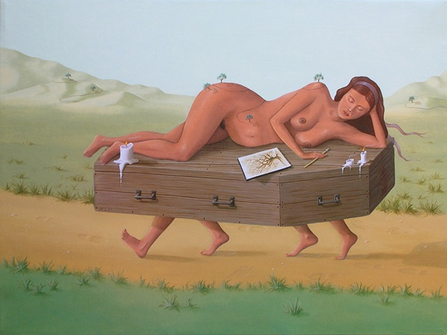 oil painting of surrealism, magic realism by female artist Karen S. Purdy