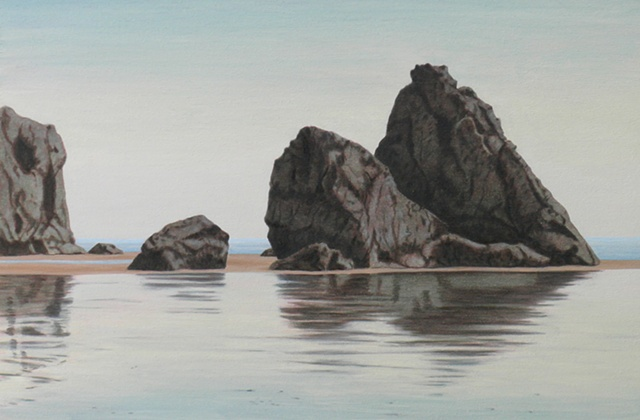 oil and acrylic painting on panel of rock landscape by female artist Karen S. Purdy