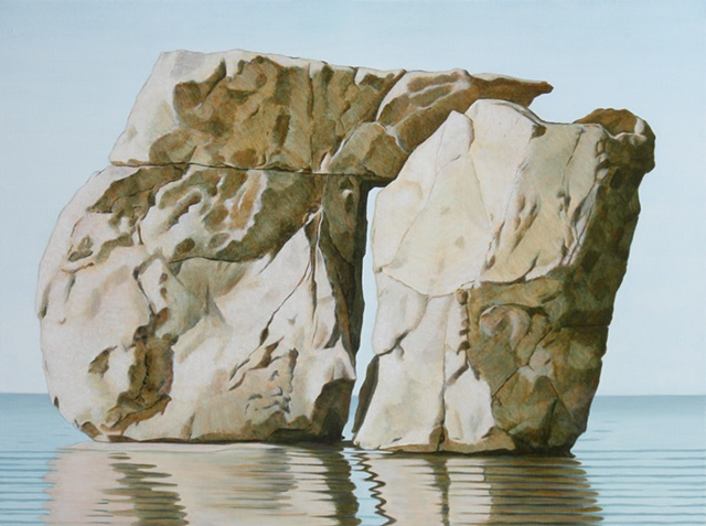 oil and acrylic painting on linen of rock still life by female artist Karen S. Purdy
