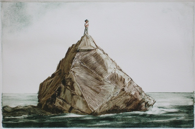 monotype color print of rock landscape portrait by female artist Karen S. Purdy