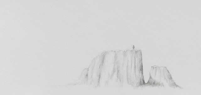 graphite drawing on paper landscape by female artist Karen S. Purdy