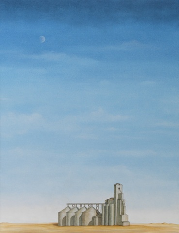 Oil painting of Landscape and Silo by female artist Karen S. Purdy