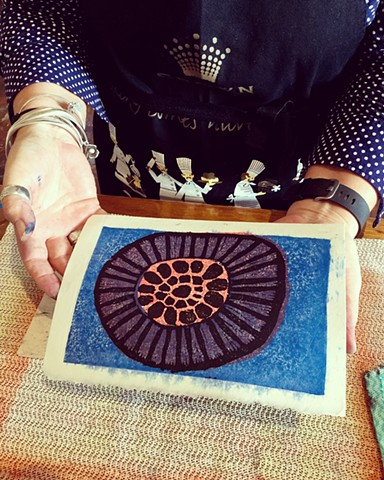 Student's work at woodblock printing class