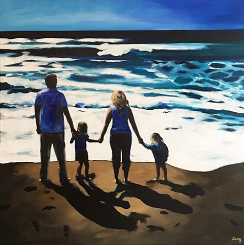 beach , family, portraits, custom art