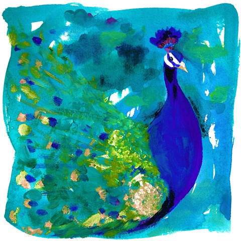 art prints, peacocks, boho style