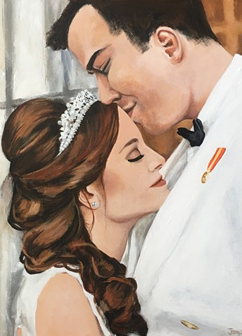 wedding portrait, custom art, portrait artist, beautiful colors. art