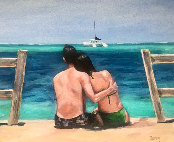 portraits, couple, painting, water color, anniversary