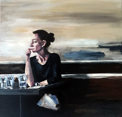 painting, woman eating, blue, neutrals, food, restaurant