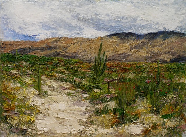 "Saguaro National Monument East 3 oil on canvas panel  9"" x 12"" SOLD"