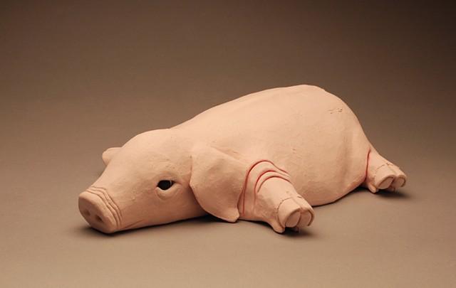 fat sad piglet unhappy mother pig depressed sculpture bacon ham vegan vegetarian emotion